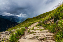 Hiking Path. Wanderweg hiking path on the Schynige Platte plateau in Switzerland. Schynige Platte is a popular tourist attraction and hiking destination in the Stock Image