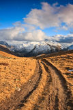 Hiking path. Romantic hiking path in Alps Mountains. High peaks with snow in background Royalty Free Stock Photos