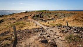Kaena Point Landscape. Hiking path along the coastal seascape hiking trail of Kaena Point National Park on Oahu, Hawaii north shore stock image