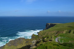 Hiking Path Along the Top of the Cliff`s of Moher Royalty Free Stock Image