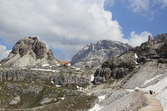Hiking path around Tre Cime peaks Stock Photo