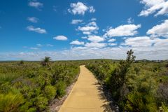 Hiking path through beautiful green landscape in Western Australia at Nilgen Nature Reserve royalty free stock photos