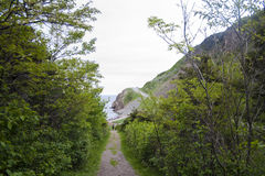 Hiking Path and Cliffside Road Stock Image