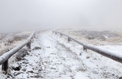 Hiking path in the fog. On Great Arber mountain, Bavaria, Germany Stock Images