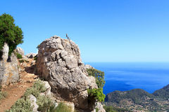 Hiking path in Majorca with sea in background Royalty Free Stock Image