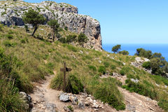 Hiking path in Majorca with sea in background Royalty Free Stock Images