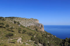 Hiking path in Majorca Tramuntana with Mediterranean Sea in background Stock Images