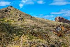 Hiking path mountain in madeira island Royalty Free Stock Photos