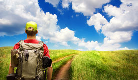 Hiking a path on the open countryside Royalty Free Stock Photo