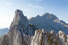 Hiking path over ridges to Saentis Royalty Free Stock Photography