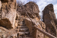 Hiking path through red rocks Stock Photo