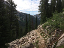 Hiking path in Sawtooth mountains Stock Photos