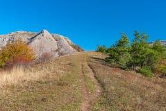 Hiking path to Bald Ivan mountain at autumn season Royalty Free Stock Images