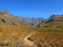 Hiking Path to Rhino Peak, uKhahlamba Drakensberg National Park. Hiking Path to Rhino Peak at Garden Castle Reserve of uKhahlamba Drakensberg National Park stock photo