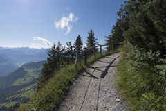 Hiking path on top of the Stanserhorn, Switzerland Stock Photography