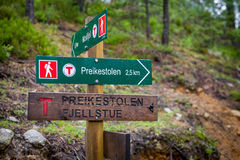 Hiking path touristic road sign to famous Prekestolen rock. Royalty Free Stock Image