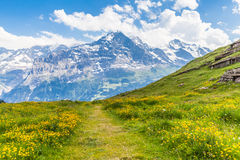 On the hiking path towards Eiger north face Stock Photo