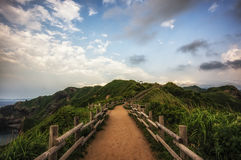 Hiking path under the sunset in Cape Kamui Stock Photo