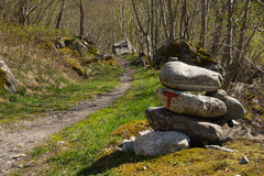 Hiking path in Valley of Aurland, Aurlandsdalen, Norway Royalty Free Stock Images