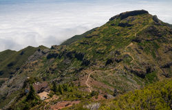 Hiking path viewed from Pico Ruivo Royalty Free Stock Photo