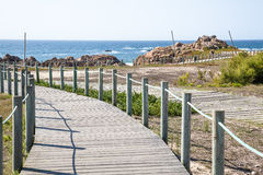 Hiking path of wood on coast. Wooden footbridge, promenade by the sea without people, hiking path of wood on coast Stock Photography