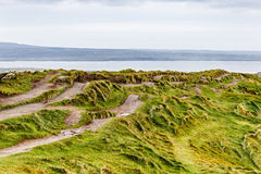 Hiking paths. Photo of many hiking paths at the ocean coastline royalty free stock photos