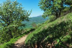 Hiking pathway- journey through roads, mystical nature. Mountain landscape- springtime mystical nature. Journey through roads and stone- hiking pathways royalty free stock image