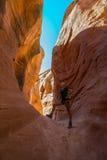 Hiking Peekaboo Slot Canyon Stock Photos
