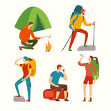 Hiking people cartoon set. Cartoon travelers set with large backpacks. People hiking. Backpacker illustration Stock Photo