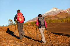 Hiking people - healthy active lifestyle couple royalty free stock image
