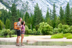 Hiking people on hike in nature in Yosemite Stock Photo