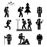 Hiking people icons Royalty Free Stock Image
