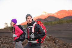 Hiking people on mountain Royalty Free Stock Photos