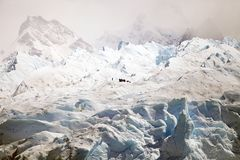 Hiking on the Perito Moreno Glacier view from Brazo Rico in the Argentino Lake in Patagonia, Argentina Stock Images