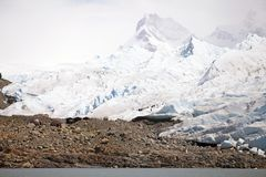 Hiking on the Perito Moreno Glacier view from Brazo Rico in the Argentino Lake in Patagonia, Argentina Royalty Free Stock Images