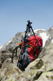 Hiking pole and backpack Royalty Free Stock Photo
