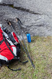 Hiking pole and backpack, trekking equipment Royalty Free Stock Photos