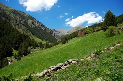 Hiking in Pyrenees mountains in Andorra Royalty Free Stock Photo