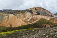 Hiking in the Rainbow Mountains, Iceland. Travel photo from a hike in Rainbow Mountains, Landmannalaugar on Iceland Royalty Free Stock Photo