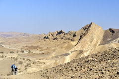 Hiking in Ramon crater, Israel. Royalty Free Stock Images