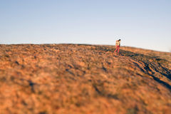 Hiking on the red mountain Royalty Free Stock Photography