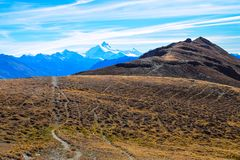 Hiking in the region of Torrenthorn, with a stunning view of the swiss alps, Switzerland/Europe royalty free stock photos