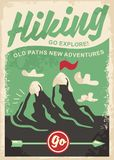 Hiking retro poster design vector illustration