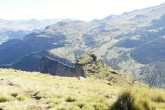 Hiking on ridge tour in Simien mountains Royalty Free Stock Images