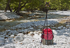 Hiking at river of Pozar in Greece Royalty Free Stock Images