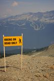 Hiking on road only sign Royalty Free Stock Images