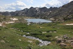 Hiking the Rockies. Rocky Mountain Landscape with Lakes and Waterfalls - Colorado, USA Royalty Free Stock Image
