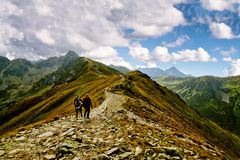 Hiking in Rocky Mountains Stock Image