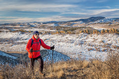 Hiking Rocky Mountains foothills stock photography