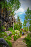 Hiking in Rocky mountains Stock Images
